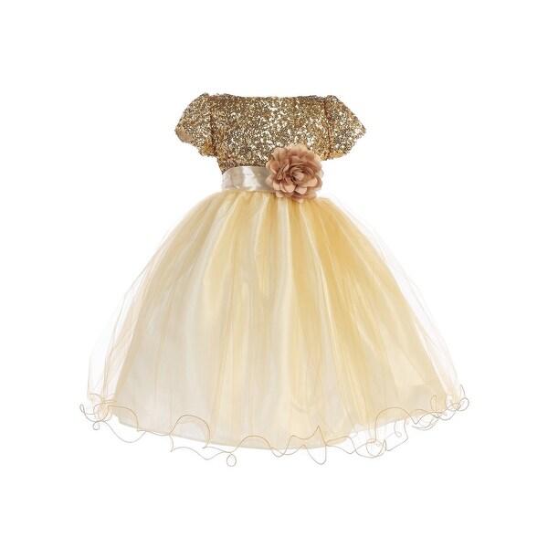 62e62b892 Ellie Kids Little Girls Gold Sequin Tulle Wire Hem Flower Girl Dress 4-6