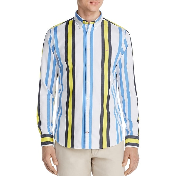 tommy hilfiger blue and white shirt