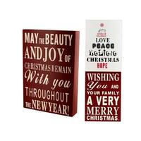 Wood Block Christmas Sign - Pack of 6