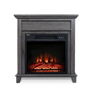 BELLEZE 18 in. Freestanding Electric Fireplace Mantel Heater with Tempered Glass and Remote, Grey