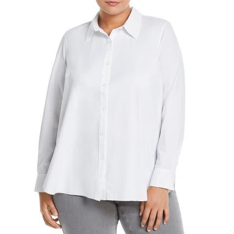 Lysse Leggings Womens Plus Reese Button-Down Top Collared Shirt - White