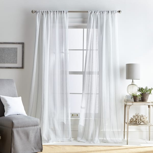 Martha Stewart Hampton Stripe Sheer Rod Pocket Single Curtain Panel Overstock 31927968