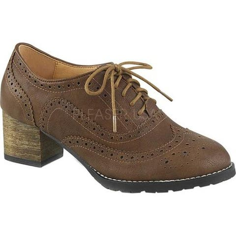 a50dc5a9cd9 Pin Up Couture Women s Russell 34 Wingtip Oxford Brown Faux Leather