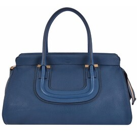 CHLOÉ LARGE Blue Textured Leather Everston Purse Handbag Satchel