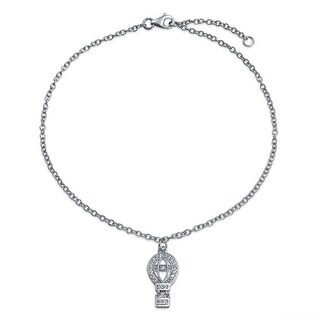Bling Jewelry CZ Hot Air Balloon Charm Anklet Bracelet 925 Silver 10in