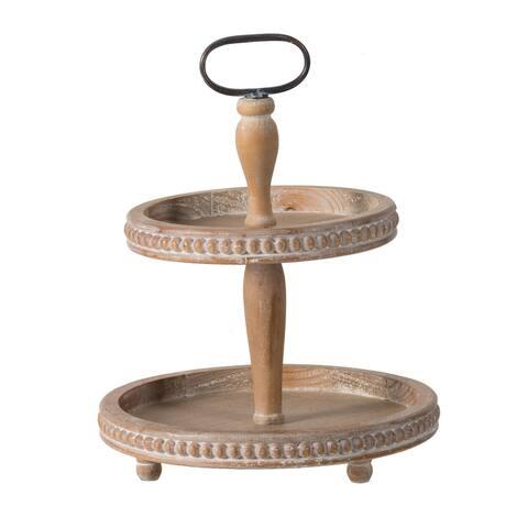 A&B Home Whitewash Tan 2-Tier Wood Bead Trim Tray