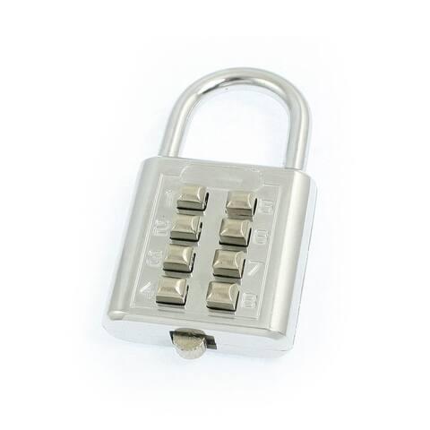 Unique Bargains Rectangular 4 Digits Combination Password Code Padlock Silver Tone