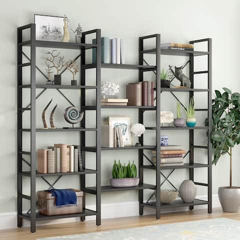 Triple Wide 5-Shelf Bookcase, Etagere Large Open Bookshelf