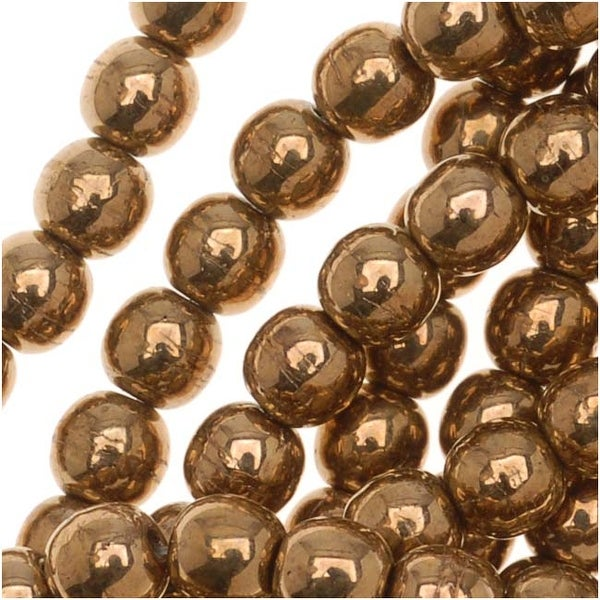 Czech Glass Druk Round Beads 4mm Metallic Bronze (100)