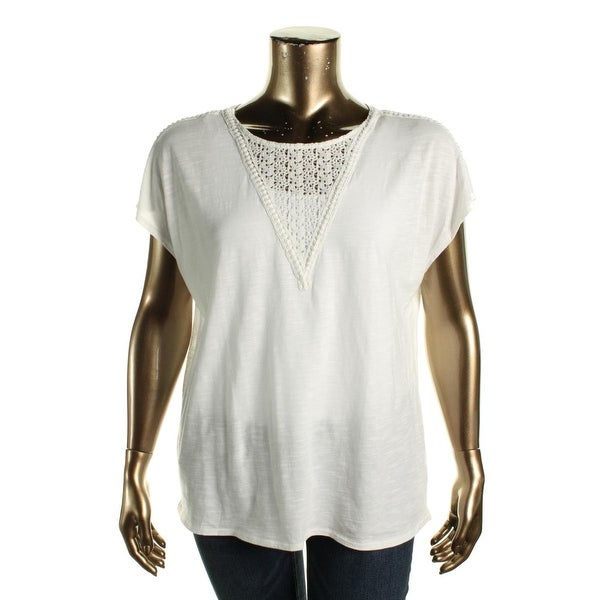 Two by Vince Camuto Womens Blouse Cotton Crochet Front