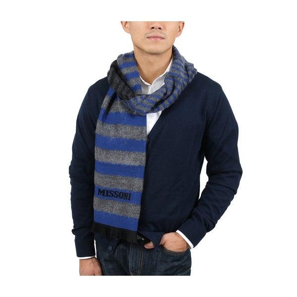 Missoni SC12WMU5078 0002 Blue/Grey Wool Blend Scarf - 14.75 - 71