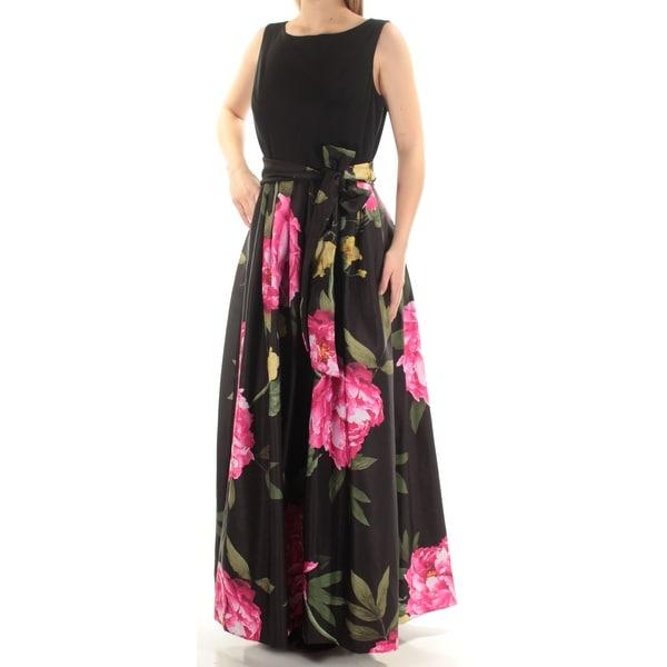 Shop Womens Black Floral Sleeveless Full Length Formal Dress Size