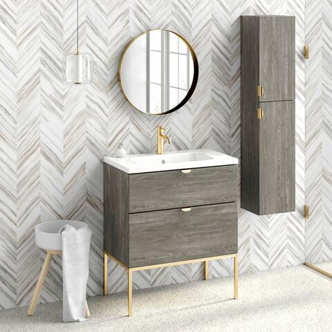 "32"" Bathroom Vanity Cabinet + Ceramic Sink Set Aspen W32 X H35 X D18 in Wf446 Charred Oak"