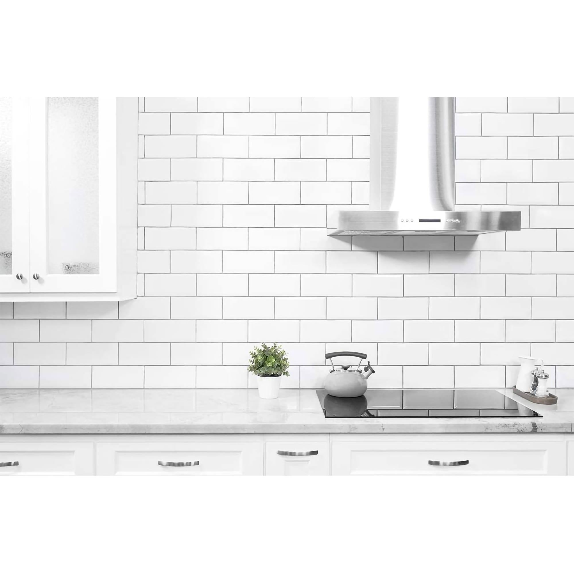Art3d 14 X12 Eva Self Adhesive Backsplash Tiles Faux Ceramic Tile 10 Pack Floral White Overstock 31584851