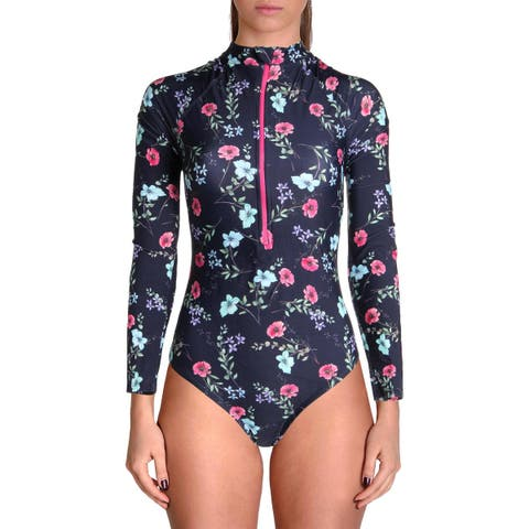 Shoshanna Womens Floral Print Long Sleeves One-Piece Swimsuit