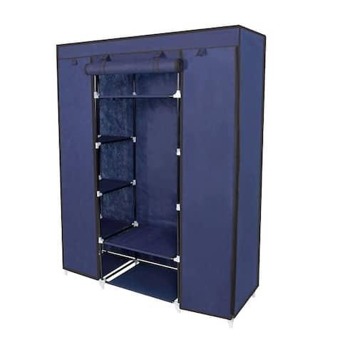 Clothes Organizer Wardrobe Portable Closet with Non-Woven Fabric,Blue