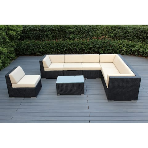 Ohana Outdoor Patio 8 Piece Black Wicker Conversation Set with Cushions