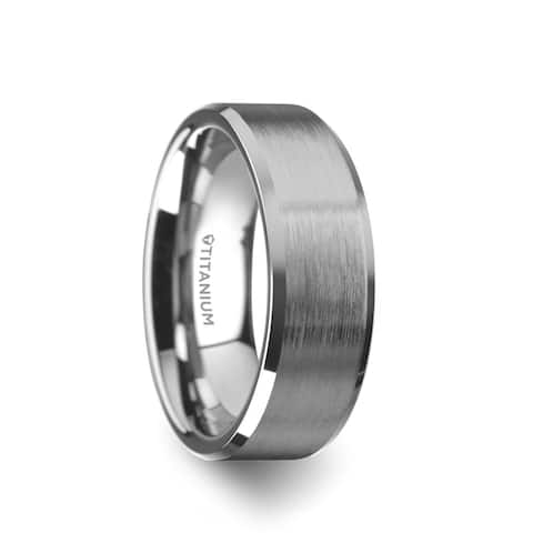 32f401c240 Thorsten SHIRE Tungsten Rings for Men Flat Matte Brushed Titanium Center Wedding  Ring Band Polished Beveled