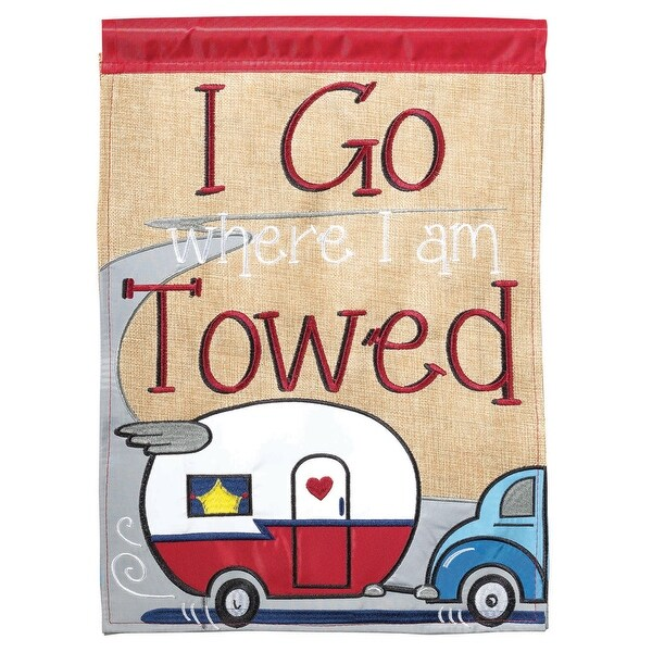 "Red and Gray Double Sided ""I Go Where I Am Towed"" Camper Burlap Garden Flag 18"" x 13"" - N/A"