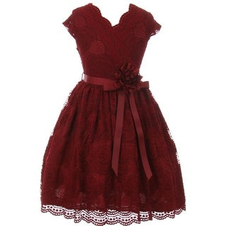 Flower Girl Dress Curly V-Neck Rose Embroidery AllOver Burgundy JKS 2066