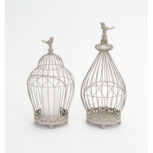 Set Of 2 Vintage Rose Taupe Antique Style Wire Birdcage Pillar Candle Holders 15 75