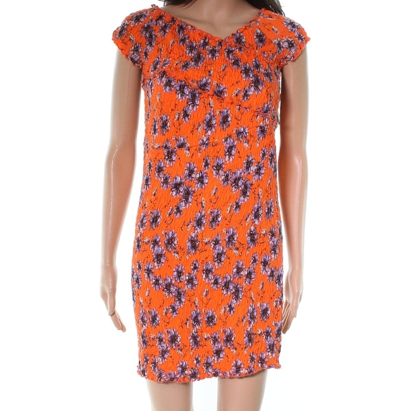 6bd365817f164 Shop TopShop Orange Womens Size 2 Shirred Floral-Print Sheath Dress ...