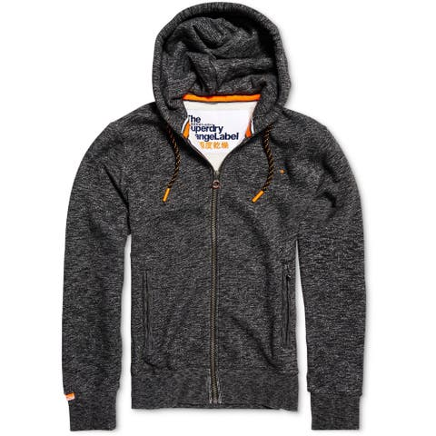 Superdry Mens Orange Lapel Hoodie Sweatshirt, Grey, Small