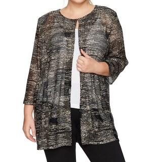 Kasper Gold Womens Size 1X Plus Open Printed Cardigan Topper Sweater