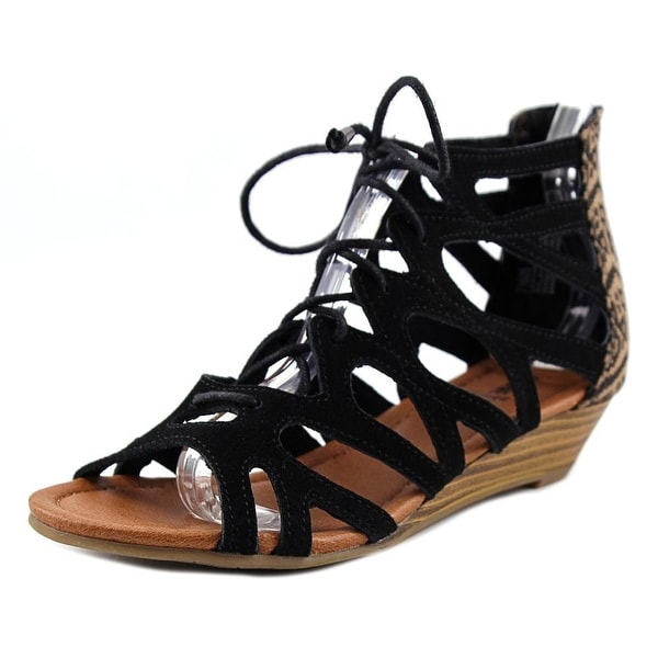 Minnetonka Merida II Women Open Toe Suede Black Gladiator Sandal