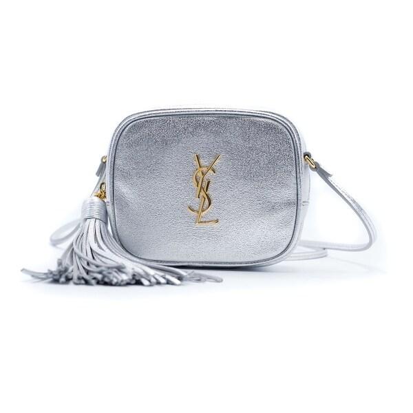 Saint Laurent Womens Silver Monogram Blogger Shoulder Bag - SMALL