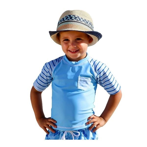 Sun Emporium Baby Boys Sky Blue Stripe Rash Guard Short Sleeve