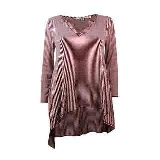 Studio M Women's Split Neck Striped Knit Tunic Blouse