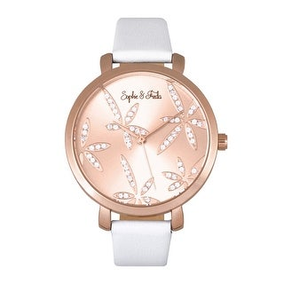 Sophie & Freda Key West Leather-Band Watch - Rose Gold/White