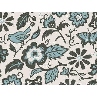 """Pack Of 1, 24"""" X 417' Morning Melody Floral & Kraft Gift Wrap Counter Roll For Feminine, Birthday, Mother's Day / Any Occasion"""
