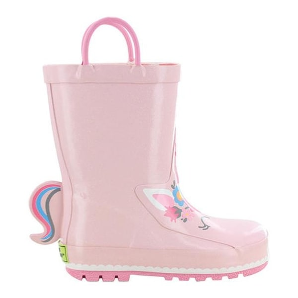 Natural Rubber Waterproof Booties Cute Shoes with Soft Fabric Edge Girls with Handle Boys JOYCORN Little Kids Rain Boots for Toddler