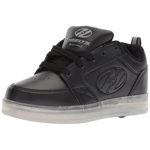 6d2d8453b57061 Kids Heelys Boys HE100262 Leather Low Top Lace Up Skateboarding Shoes