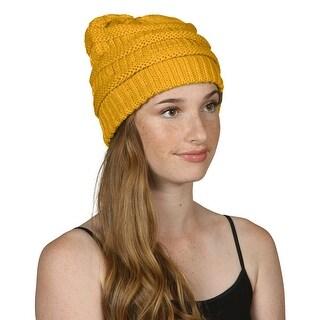 Gravity Threads CC Knit Soft Stretch Beanie Cap, Mustard