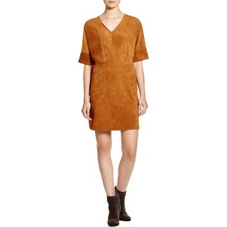 Vince Camuto Womens Casual Dress Faux Suede Lined V-Neck