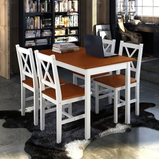 Link to vidaXL Wooden Table with 4 Chairs Furniture Set White Similar Items in Dining Room & Bar Furniture
