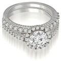 1.47 cttw. 14K White Gold Antique Halo Round Cut Diamond Bridal Set - Thumbnail 0
