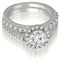 1.72 cttw. 14K White Gold Antique Halo Round Cut Diamond Bridal Set - Thumbnail 0