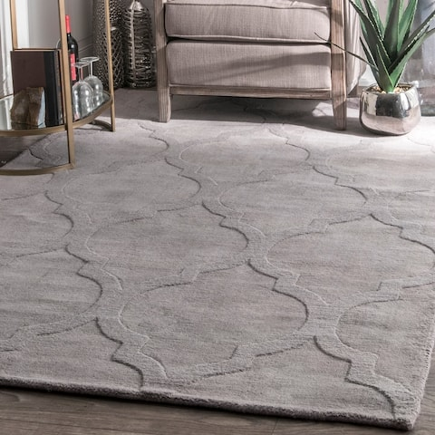 nuLOOM Handmade Abstract Raised Trellis Wool Rug