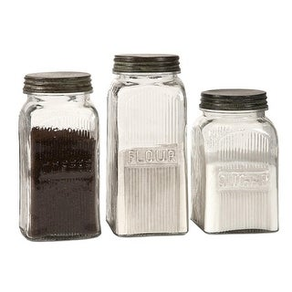 Set of 3 Vintage Style Coffee, Flour and Sugar Glass Canisters with Lids