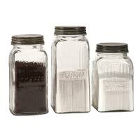 Set of 3 Vintage Style Coffee, Flour and Sugar Glass Canisters with Lids - Clear