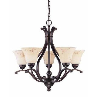 """Nuvo Lighting 60/1402 Anastasia 5 Light 23.6"""" Wide Chandelier with Honey Marble Glass Shades"""