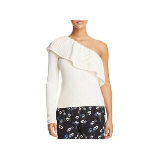 Ella Moss Womens Loli Pullover Sweater One Shoulder Ruffled