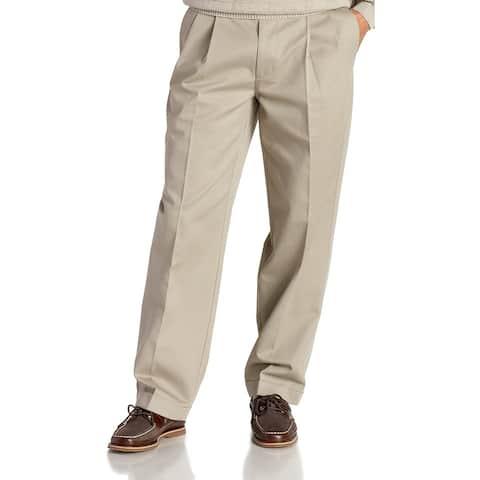 IZOD Mens Pants Beige Size 44x30 Big & Tall American Chinos Pleated