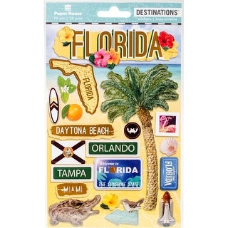 """Paper House 2-D Stickers 7.5""""X4.5""""-Travel Florida"""