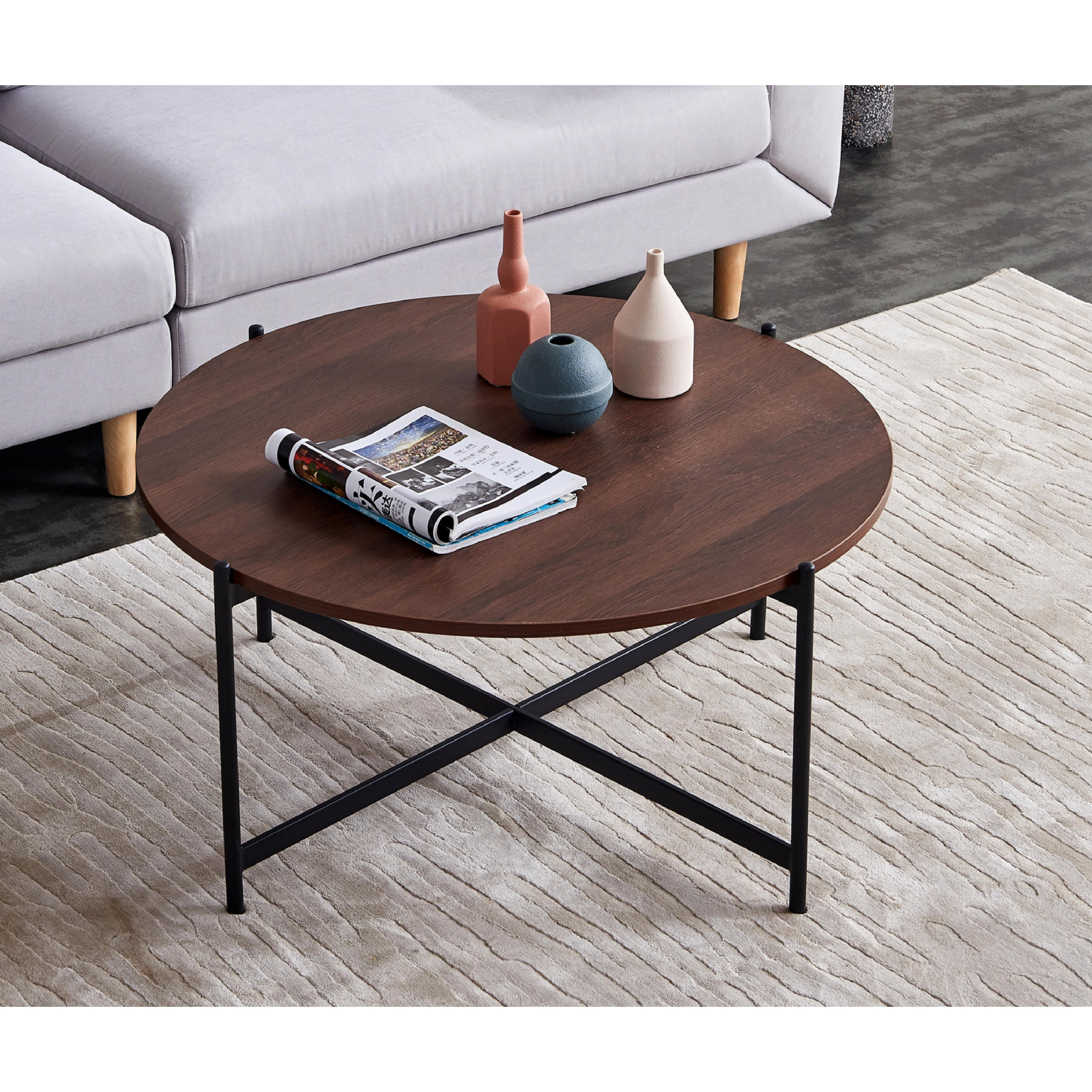 Modern Round Coffee Table Golden Color Frame With Marble Wood Top 32 Overstock 32263252