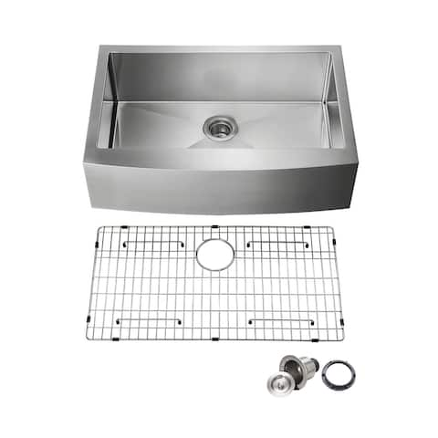 Handcrafted Farmhouse Apron Single Bowl Real 16 gauge Stainless Steel Kitchen Sink with Strainer and Grid